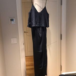 Navy shona joy draped frill dress never worn